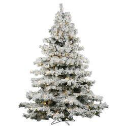 Flocked Alaskan 3' White Artificial Christmas Tree with 100 LED White Lights with Stand