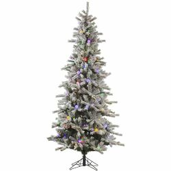 Flocked London Slim 9' White Artificial Christmas Tree with 620 LED Multi-Colored Lights