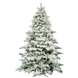 Flocked Alaskan 9' White Pine Artificial Christmas Tree with Unlit with Stand