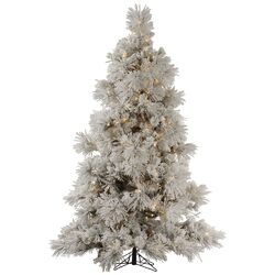 Flocked Pocono 9' White Artificial Christmas Tree with 950 Clear Lights