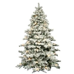 Flocked Alaskan 9' White Artificial Christmas Tree with 900 Dura-Lit and G50 Clear Lights with ...