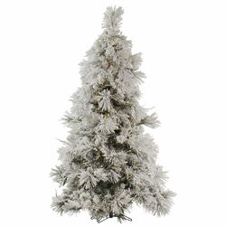 Flocked Pocono 6.5' White Artificial Christmas Tree with 450 LED White Lights