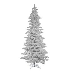 Flocked White Spruce 10' Artificial Christmas Tree with Unlit with Stand