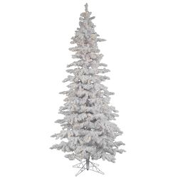 Flocked White Spruce 9' Artificial Christmas Tree with 550 LED White Lights with Stand