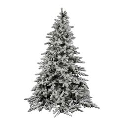 Flocked Utica 6.5' Green Fir Artificial Christmas Tree with Unlit with Stand