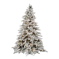 Flocked Utica 9' Green Fir Artificial Christmas Tree with 1200 Dura-Lit Clear Lights with Stand ...