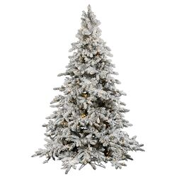 Flocked Utica 6.5' Green Fir Artificial Christmas Tree with 550 LED Warm White Lights with ...