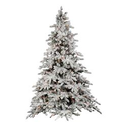 Flocked Utica 7.5' Green Fir Artificial Christmas Tree with 850 Dura-Lit Multi-Colored Lights ...