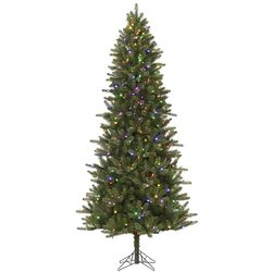 Virginia Slim 7.5' Green Pine Artificial Christmas Tree with 480 LED Multi-Colored Lights