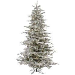 Flocked Sierra 12' White Fir Artificial Christmas Tree with 1850 LED White Lights with Stand ...