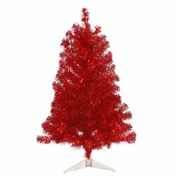 3' Red Pine Tree Artificial Christmas Tree with 50 Single Colored Light