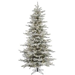 Flocked Slim Sierra 7.5' White Artificial Christmas Tree with 700 LED White Lights with Stand ...