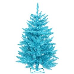 2' Blue Artificial Christmas Tree with 35 Mini Single Colored Lights with Stand