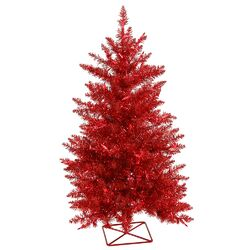 3' Red Artificial Christmas Tree with 70 Mini Single Colored Lights with Stand