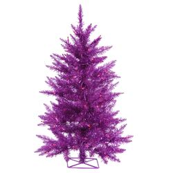 3' Purple Artificial Christmas Tree with 70 Mini Single Colored Lights with Stand