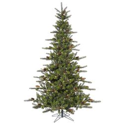 Timbercrest 7.5' Green Spruce Artificial Christmas Tree with 500 LED White Lights with Stand