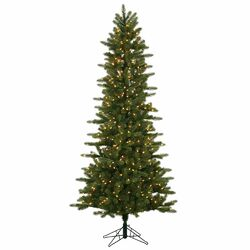 Kennedy Slim 6.5' Green Fir Artificial Christmas Tree with 400 Dura-Lit Clear Lights with Stand ...