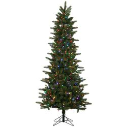 Kennedy Slim 6.5' Green Fir Artificial Christmas Tree with 400 LED Multi-Colored Lights with ...