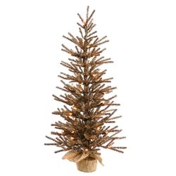 1.5' Chocolate Tree with Burlap Base Artificial Christmas Tree with 20 Clear Light
