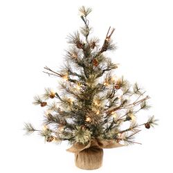 Mountain Ridge Dakota 2' Pine with Burlap Base Artificial Christmas Tree with 35 Clear Light ...