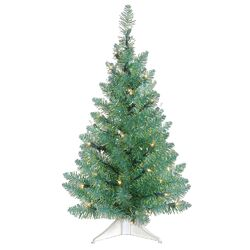 2' Turquoise Artificial Christmas Tree with 35 Clear Lights