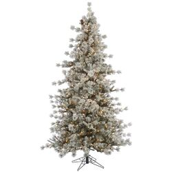 Flocked Anchorage 4.5' Grey Artificial Christmas Tree with 200 Dura-Lit Clear Lights with Stand