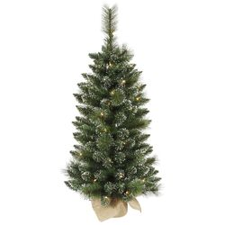 Snow Tip Pine / Berry 3' Pine Artificial Christmas Tree with 50 Clear Lights