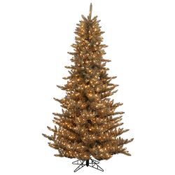 Antique Gold Ornaments 7.5' Champagne Fir Artificial Christmas Tree with 750 Mini Clear Lights