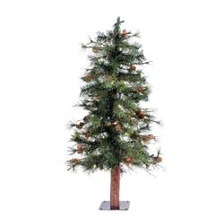 Mixed Country Alpine 3' Green Pine Artificial Christmas Tree with 50 LED White Lights with ...