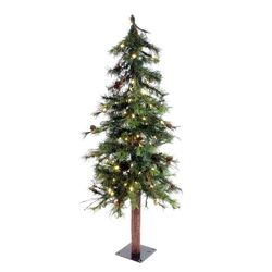Mixed Country Alpine 4' Green Artificial Christmas Tree with 100 LED White Lights with Stand ...