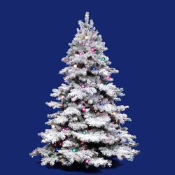 Flocked Alaskan 12' White Artificial Christmas Tree with 1800 Dura-Lit and G50 Clear Lights ...