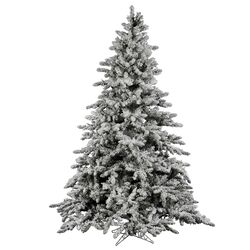 Flocked Utica 12' Green Fir Artificial Christmas Tree with Unlit with Stand