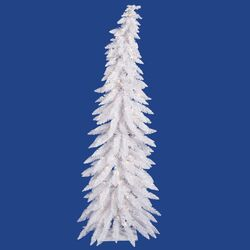 Colorful Whimsical 5' White Artificial Christmas Tree with 100 Mini Clear Lights with Stand