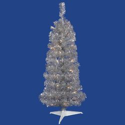 Colorful 3' Silver Artificial Christmas Tree with 50 Clear Lights