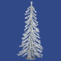 3' Silver Artificial Christmas Tree with 70 Mini Clear Lights with Stand
