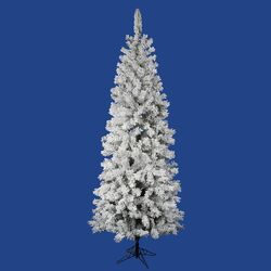 Flocked Pacific Pine 6.5' White Artificial Pencil Christmas Tree with Stand