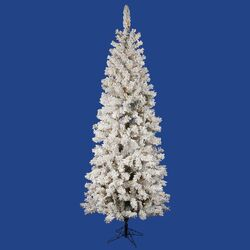 Flocked Pacific Pine 5.5' White Artificial Pencil Christmas Tree with 180 LED Lights with Stand ...