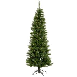 Salem Pencil 5.5' Green Pine Artificial Christmas Tree with 150 LED White Lights with Stand ...