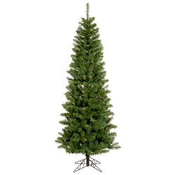 Salem Pencil Pine 6.5' Green Artificial Christmas Tree with 200 Multicolored LED Lights with ...