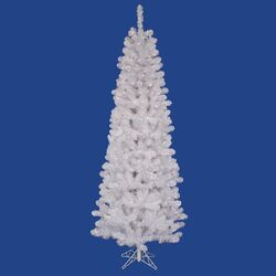 White Salem Pencil Pine 7.5' Artificial Christmas Tree with 270 LED Warm White Lights with ...