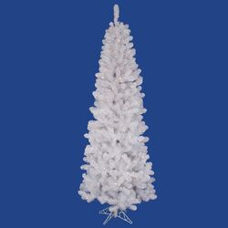 White Salem Pencil Pine 5.5' Artificial Christmas Tree with 165 LED Multicolored Lights with ...