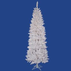 Crystal White Spruce Pencil 7.5' Artificial Christmas Tree with 275 LED Multicolored Lights ...