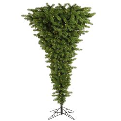 Upside Down 5.5' Green Artificial Christmas Tree with 250 Clear Lights