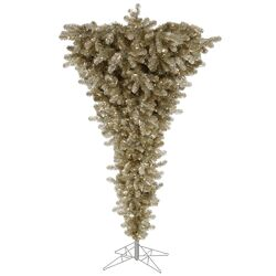 Upside Down 5.5' White Artificial Christmas Tree with 250 LED White Lights with Stand