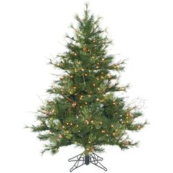 Flocked Kodiak 4.5' Green Pine Artificial Christmas Tree with 250 Dura-Lit Clear Lights with ...