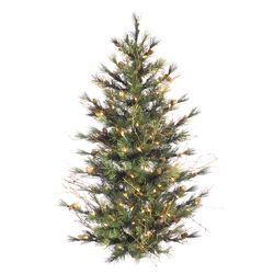 Mixed Country Pine Wall 4' Green Pine Artificial Christmas Tree with 150 Clear Lights with ...
