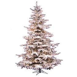 Flocked Sierra Fir 7.5' White Artificial Christmas Tree with 750 Clear Lights with Stand