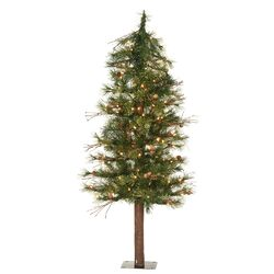 Mixed Country Alpine 3' Green Pine Artificial Christmas Tree with 70 Mini Clear Lights with ...