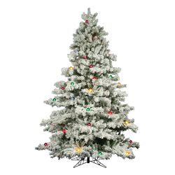 Flocked Alaskan 7.5' White Artificial Christmas Tree with 800 Multicolored Lights with Stand