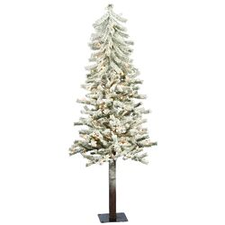 Flocked Alpine 5' White Artificial Christmas Tree with 150 Clear Lights